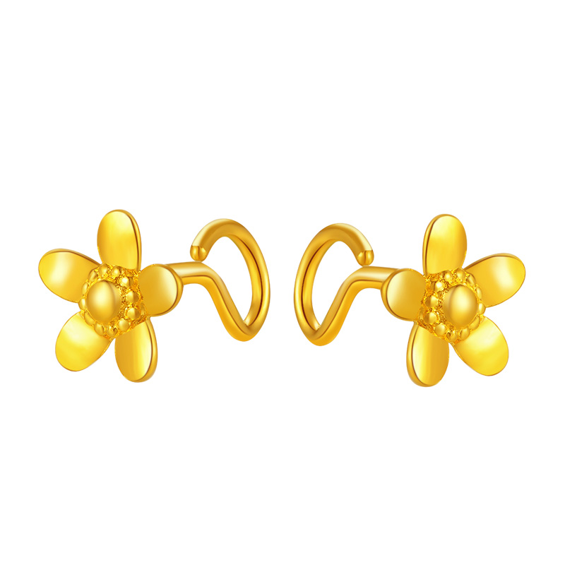 Pure 999 Yellow Gold Flower Stud Earrings 2.11g - 5
