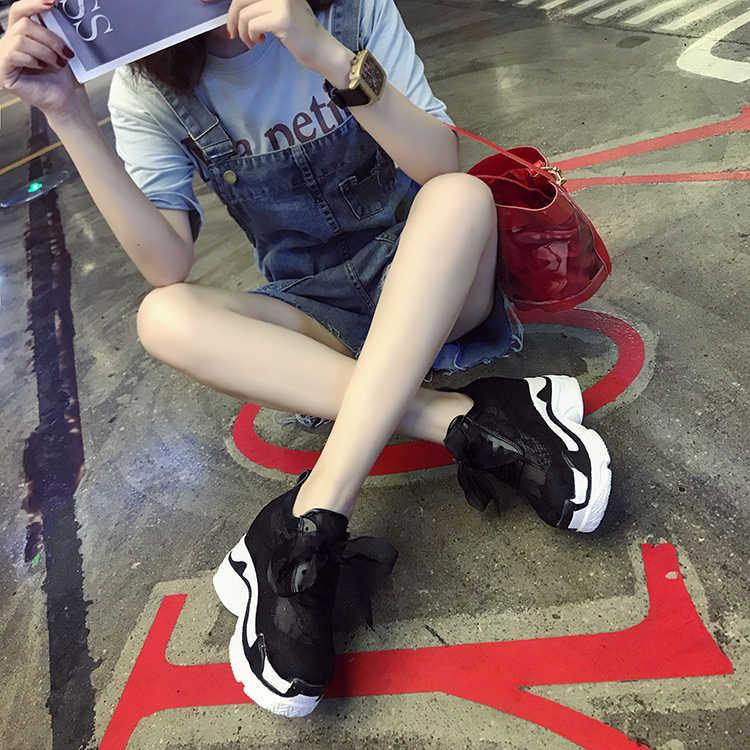 Кроссовки; женская обувь; Новинка 2019 года; сезон лето; сетчатая дышащая обувь красного цвета; повседневная обувь на толстой подошве; Белая обувь из сетчатой ткани