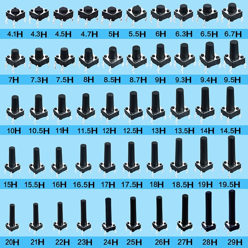 50PCS/lot Tactile Tact Push Button Micro Switch 6*6*4.3/5/6/7/8/9/10/11/12/13/14/15/18/20/23/24/--/29 MM 4 pins DIP 6x6 Link 1 image