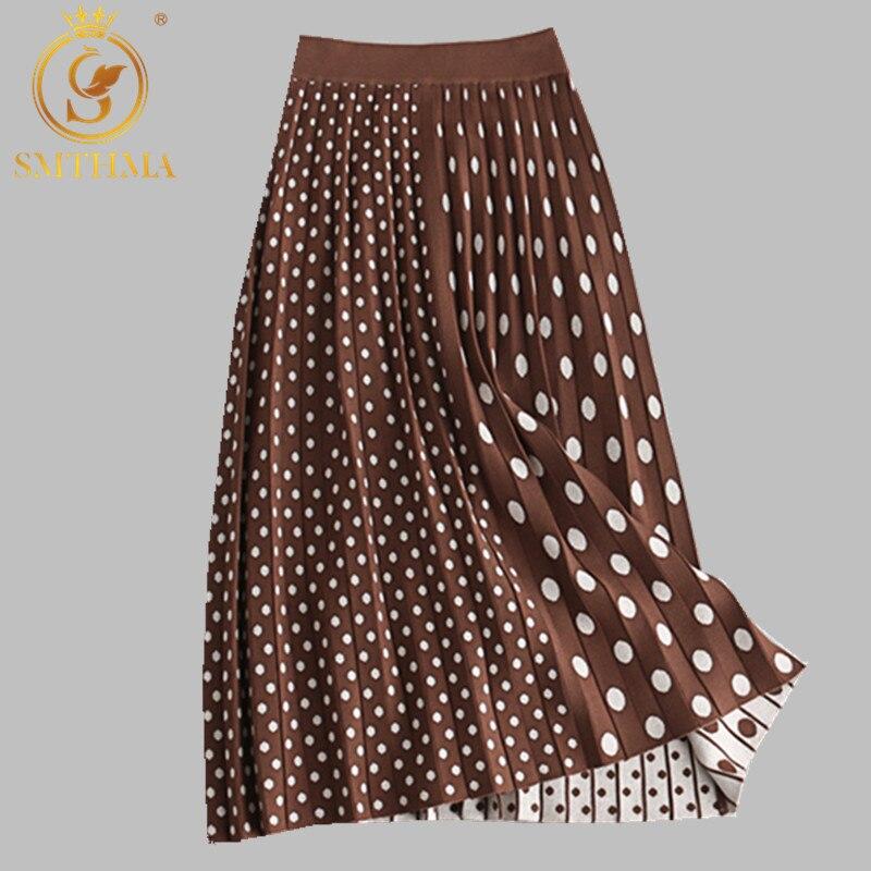 Women Knitting Skirt Dot Print Women Long Skirt Stretch Vintage Women Winter Skirt Ladies Maxi Midi Skirt