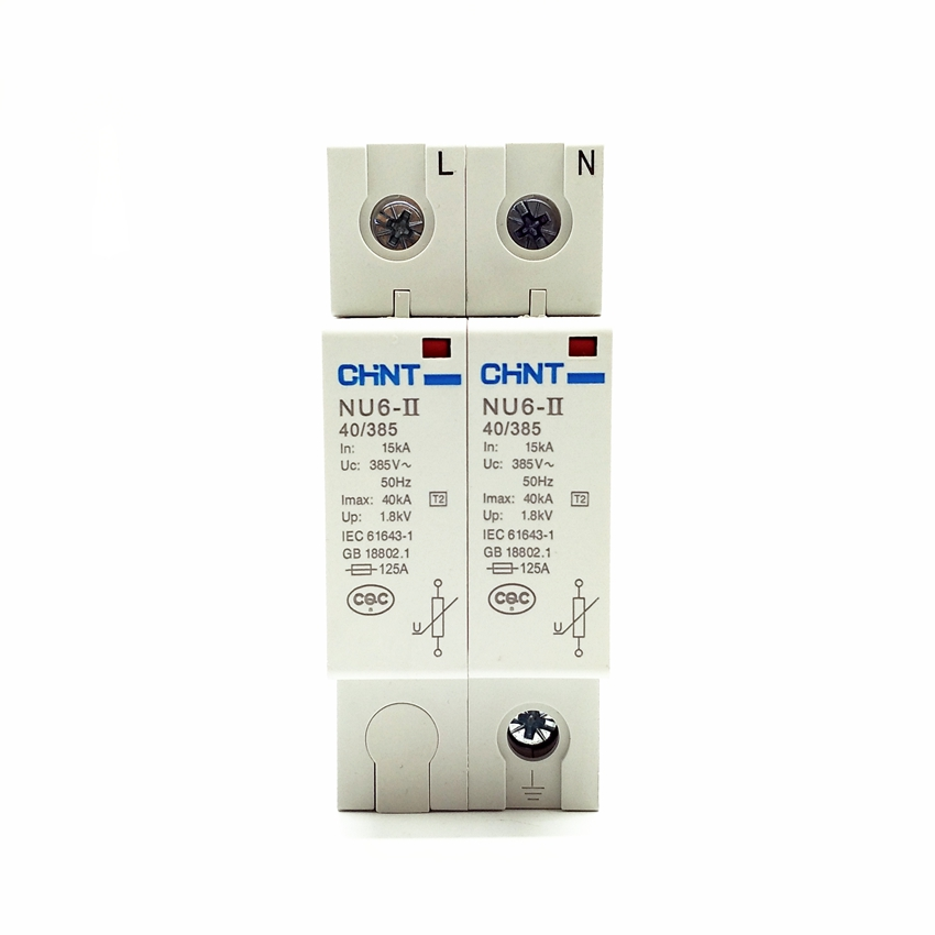voltage protector surge protector in 20 kamp 385v ce ul approval sp d5 2p CHINT NU6-II 2P 15-40KA 275V Low-voltage Surge Arrestor NU6-II 2P 15-40KA 385V Surge Protector