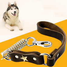 55cm Long 2.2cm Width Heavy Duty Genuine Leather Short Dog Leash for Large Dogs Walking Training