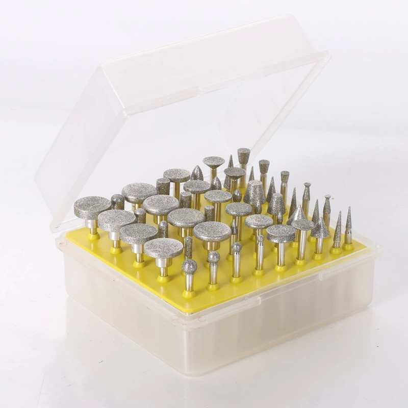 Large Size 50PCS/set Diamond Grinding Head Coated Grinder Head Drill Bur Grinder For Rotary Tools Free Shipping
