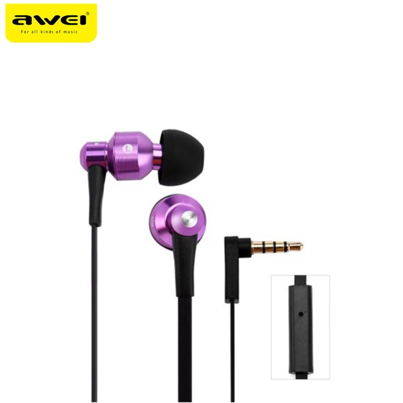 Awei ES500i 3.5mm jack Earphones wired Headset 3D surround Super Bass In-ear Earphone stereo with Mic for iphone Android PC awei q5i in ear earphones with mic gold