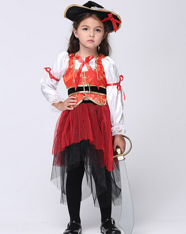 Free shipping girl kid 95-135cm Halloween kids pirate of Caribbean Costume Dress+hat+belt Cosplay Costumes Dress Costume