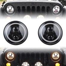7 Pulgadas Ronda Anillo de Halo Angel Eyes Faros LED Blanco + Ámbar Luces de Señal de Giro Para Jeep Wrangler JK TJ CJ