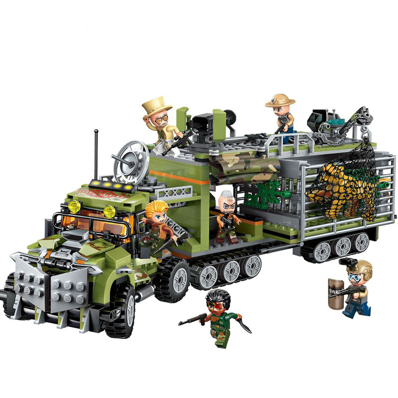 ENLIGHTEN Mountain City Moving Fortress Arrest Tiger Car Shootout Building Blocks Sets Bricks Model Kid Toy