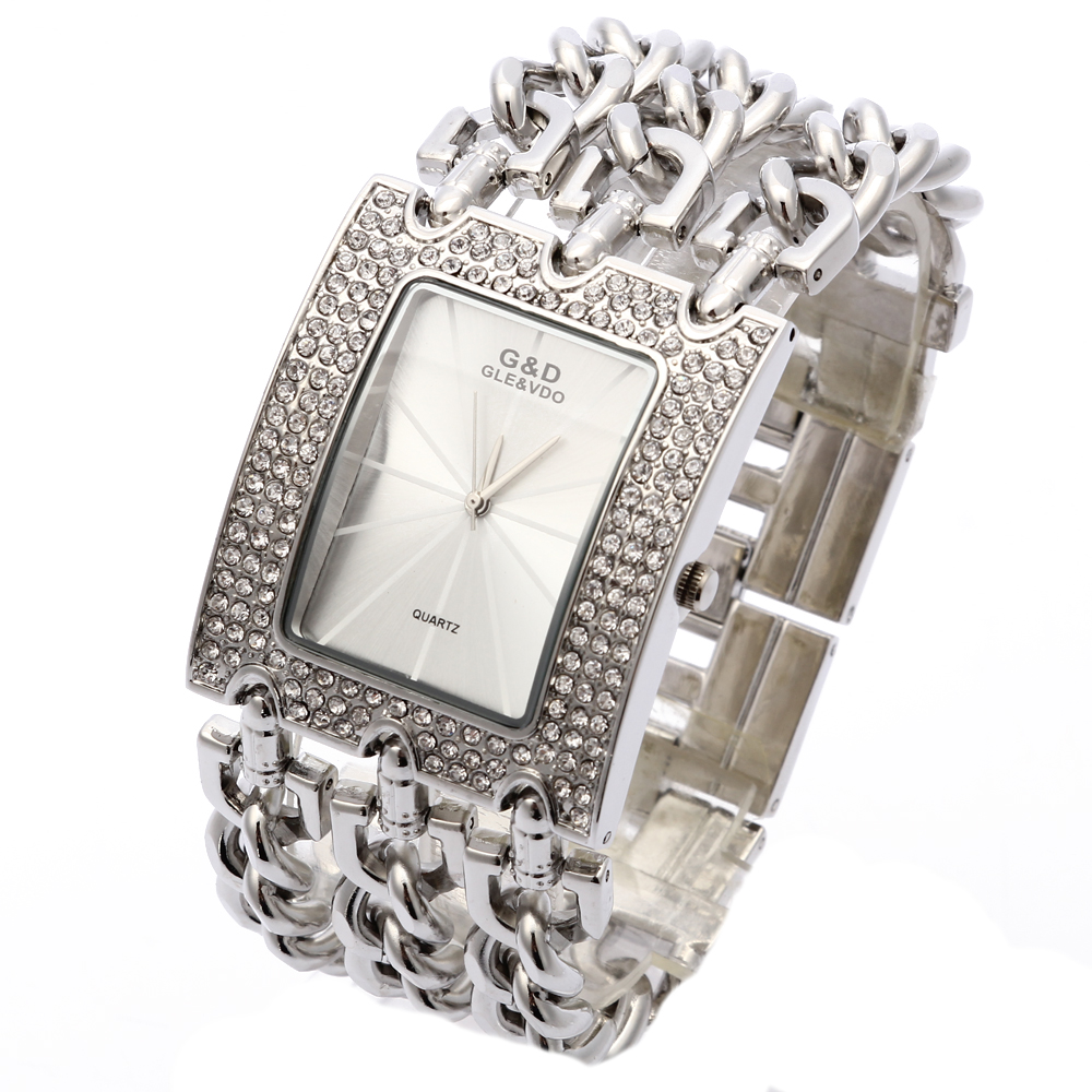 Prix pour G & D Femmes Montre-Bracelet Relogio Feminino Montre À Quartz Femmes Robe Strass De Luxe Top Marque D'origine Horloge Reloj Mujer Argent