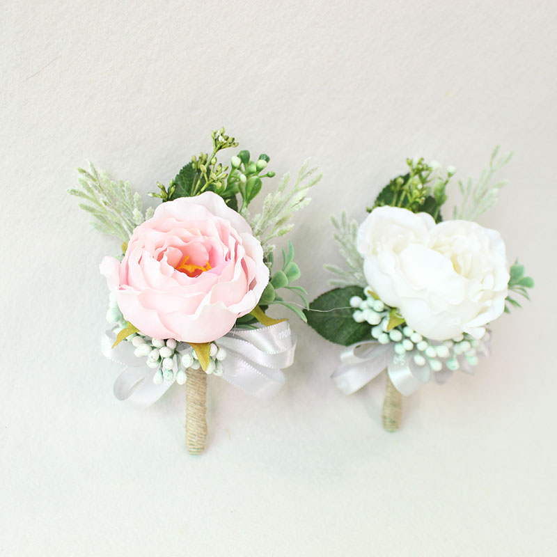 white pink roses Wedding Marriage Rose Wrist Corsage boutonnieres  (34)
