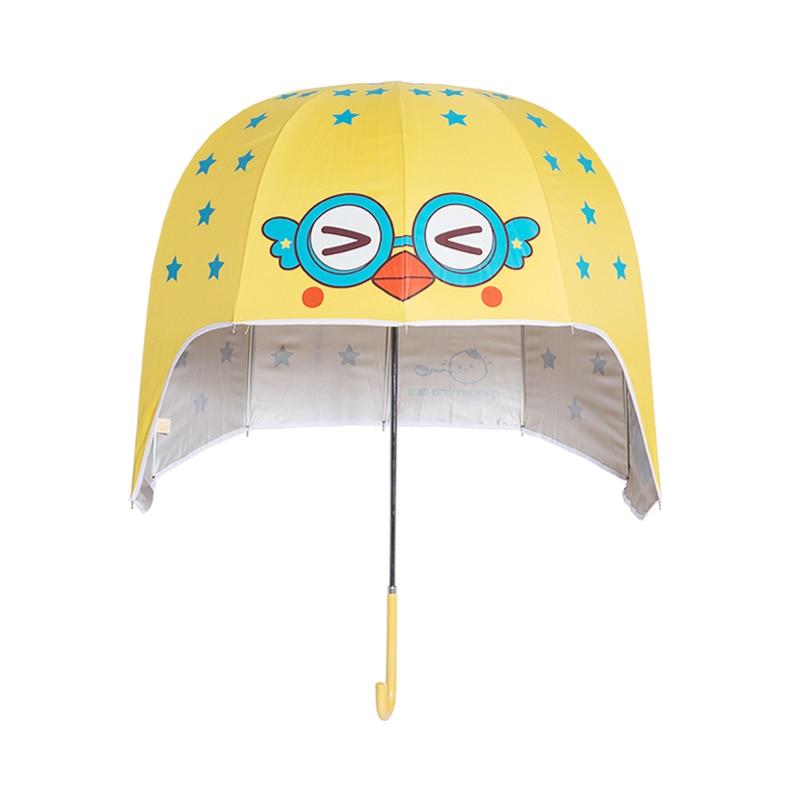 Personnalité créative belle Parent-enfant dessin animé parapluie Long manche colle noire crème solaire Protection UV Parasol casque parapluie