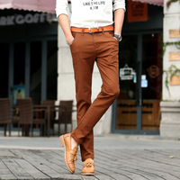 2017 New Mens 4 Color Slim Chino Soft Denim Stretch Jeans Pants Dress Trouser Brown Black