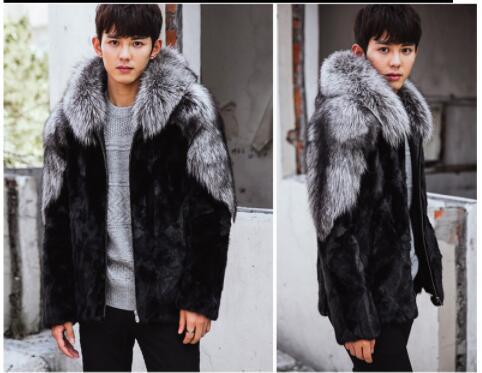 Men's high imitation fur coat men's fox fur mink fur coat one coat mane hooded coat autumn and winter plus fertilizer increase