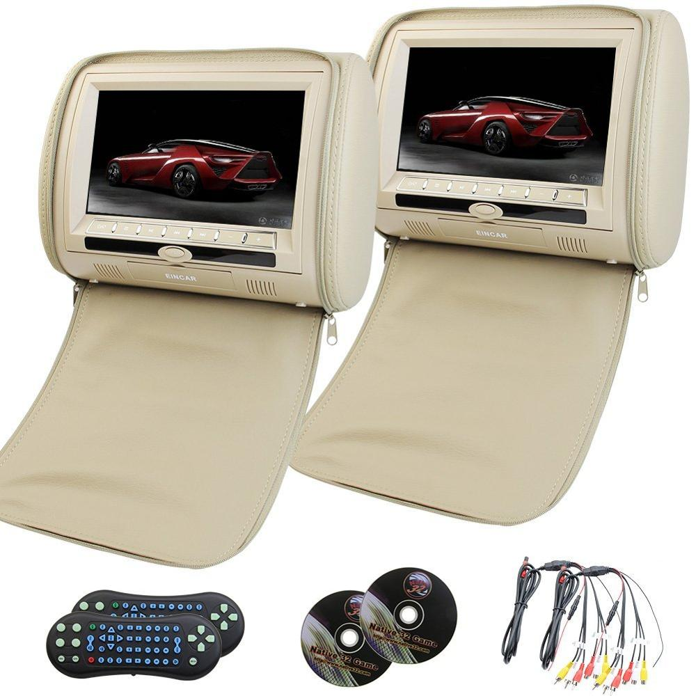 Car Headrest Monitor 2 pcs Digital TFT LCD Screen Car PC Mp5/mp3/dvd/cd with USB/SD support 32-bit games FM IR Multimedia Player 2pcs lot digital tft screen zipper car pillow headrest cd dvd player monitor usb fm 32 bit game disc remote with 2xir headsets
