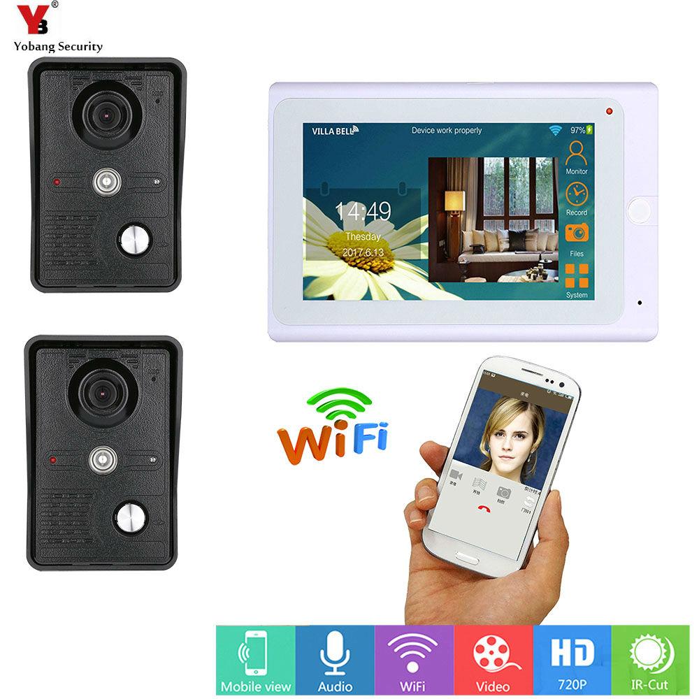 Yobang Security White 7 Inch Monitor Wifi Wireless Video Door Phone Doorbell Speakephone Intercom System APP Remote Control door wireless with monitor