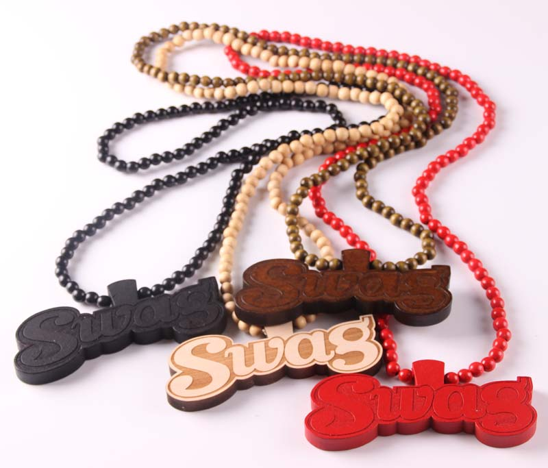 fashion necklace for women colares bijuterias hip hop wood swag pendant necklace brand long chain letter