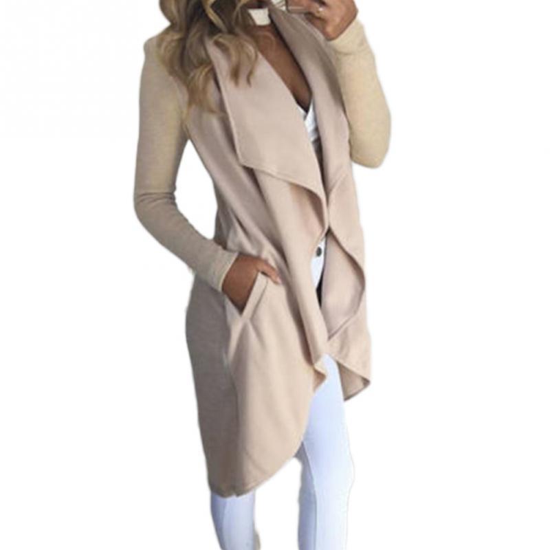 Fashion womens casual lapel collar Windbreaker overcoat Duster OL Ladies Long Sleeve straight type Coat Jacket Tops