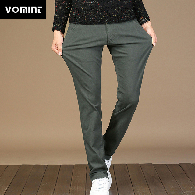 2019 VOMINT New Mens Casual Pants Trousers Slim Straight Trousers Elasticity Fabric Basic Pants Male Fashion Big Size 44 46