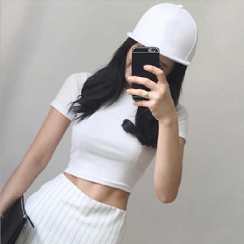 女性綿 O ネックタイトな Tシャツ白黒半袖カジュアルストリート Tシャツファッション女性トップス & Tシャツ