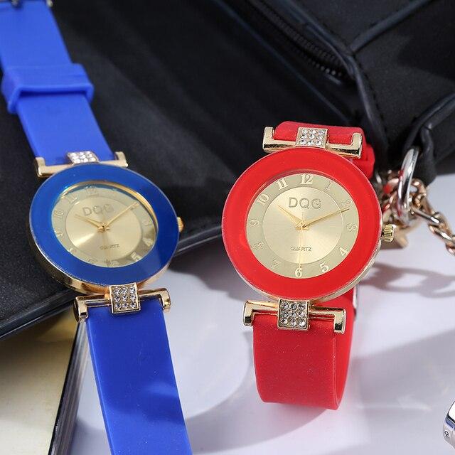 39c5ce5fd5b 2019 Nova Marca DQG Ouro Jell Relógio de Quartzo Casual Mulheres Sports  Silicone Strap Vestido Relógios Relogio feminino Relógio De Pulso Feminina