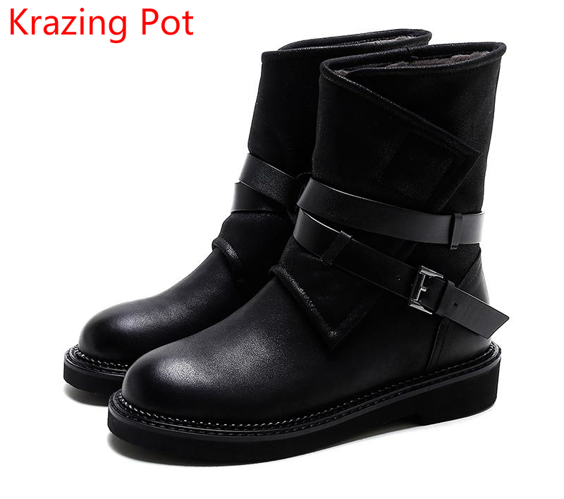 2018 New Arrival Thick Heel Solid Round Toe Warm Fashion Winter Boots Superstar Motorcycle Boots Casual Women Mid-Calf Boots L31 skullies beanies the new russian leather thick warm casual fashion female grass hat 93022