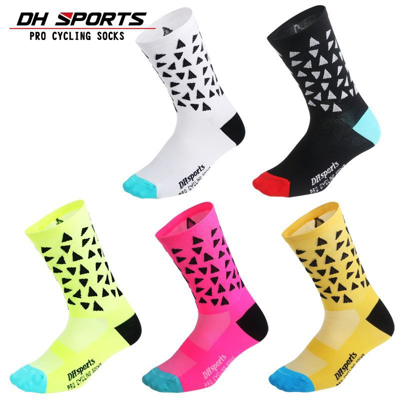 DH SPORTS New Professional Brand Outdoor Cycling Socks Breathable Road Bicycle Socks Individuality Mountain Bike Racing Socks