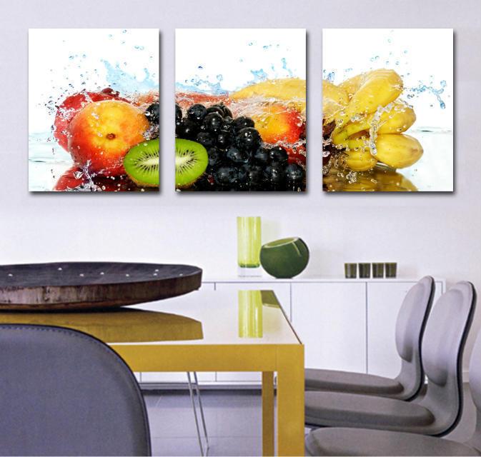 3dílné nástěnné malby umělecké obrazy ovoce obrazy na plátně do jídelny nebo kuchyně tisknout moderní nástěnný obrázek