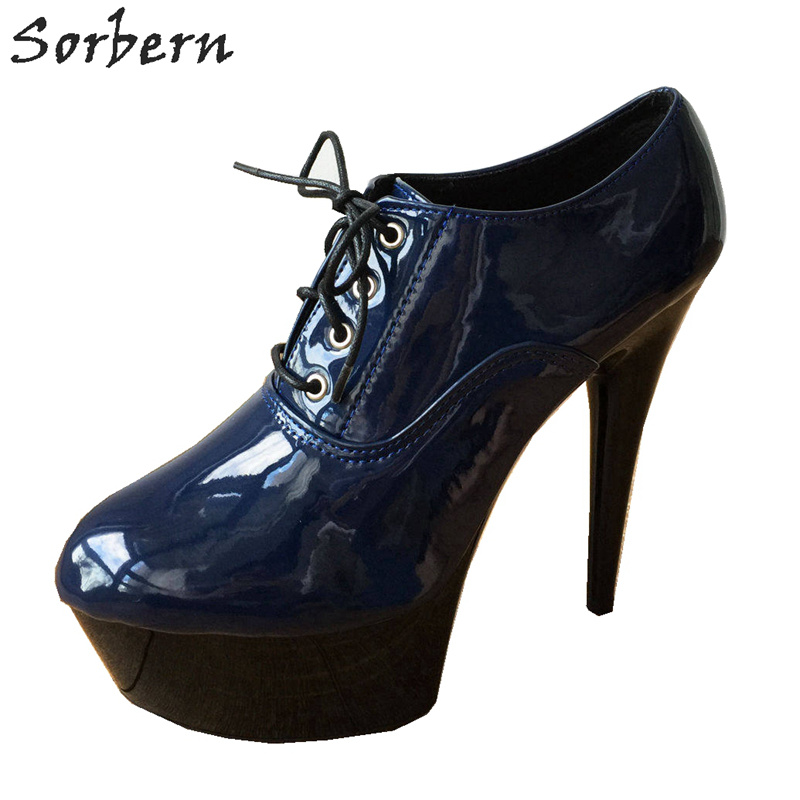Sorbern 15Cm Platform Ankle <font><b>Indigo</b></font> Blue Bootie Women Unisex Extreme Hi Heel Goth Drag Queen Lace-Up Ankle Platform Boots <font><b>Shoes</b></font>