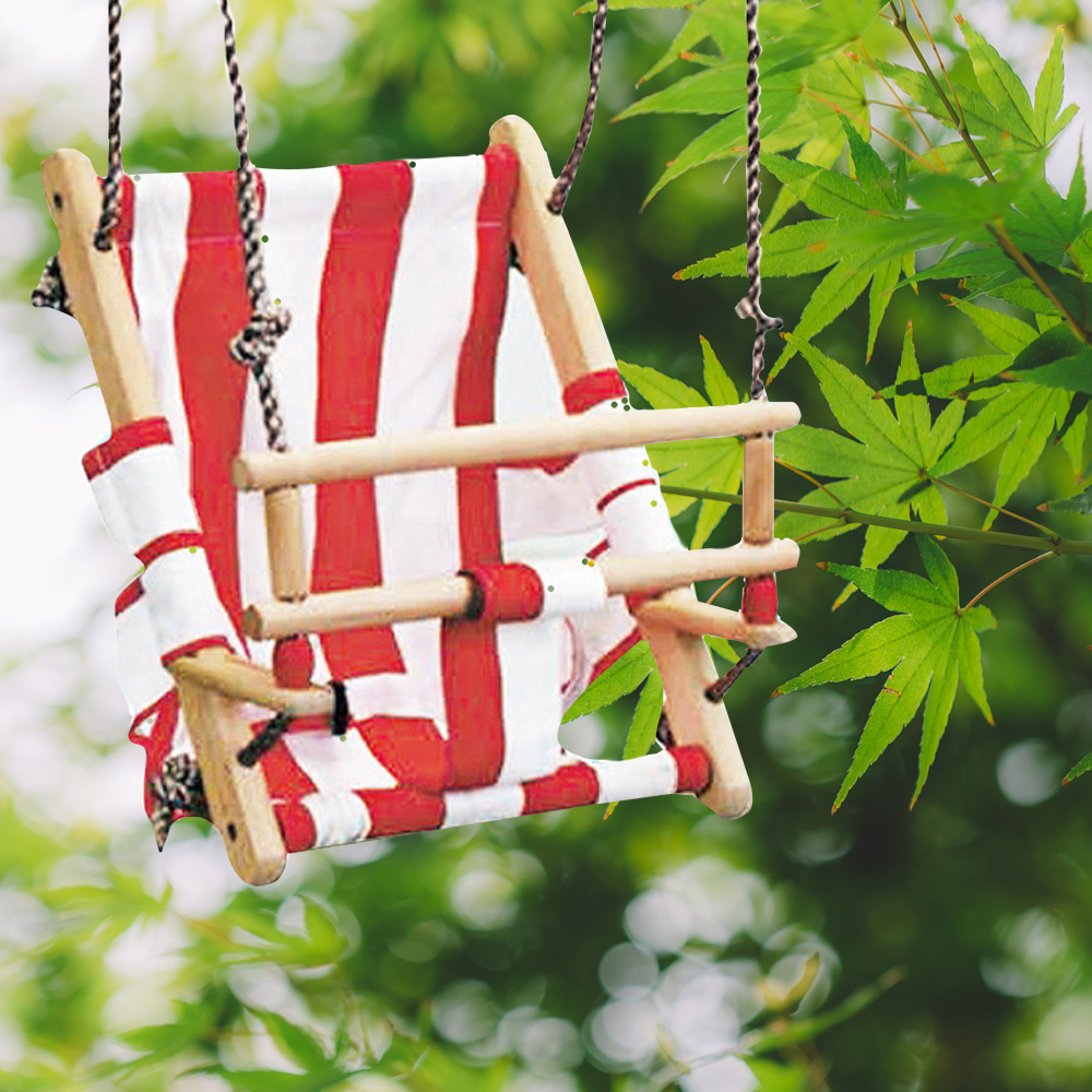 Baby Swing Chair Hanging Swings Set With Rope Rocking Solid Wood Seat For Baby Indoor Room Decor Children Outdoor Garden Swings