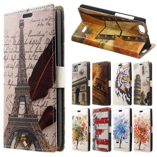 For Huawei p8 lite case cover coque capa Eiffel Tower PU leather flip wallet stand phone case for coque huawei p9 lite