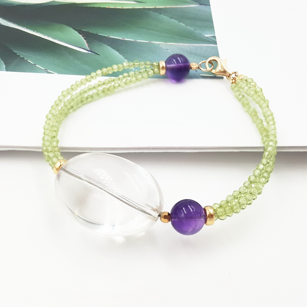 LiiJi Unique Natural stone Shining Peridots Transparent Crystal Quartz,Amethysts 925 Sterling Silver Bracelet elegant shining crystal alloy bracelet