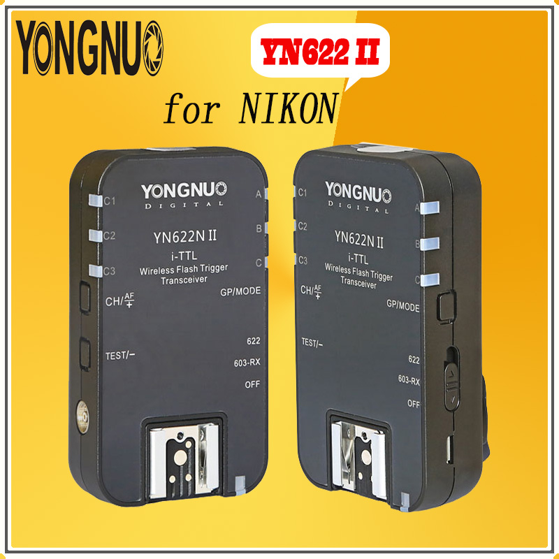 YONGNUO YN-622 N II YN622N II 2.4G HSS1/8000s for Nikon Wireless Speedlite Flash Trigger ETTL i-TTL HSS Work with YN-560TX RF605 yongnuo 3x yn 600ex rt ii 2 4g wireless hss 1 8000s master flash speedlite yn e3 rt flash trigger for canon eos camera 5d 6d