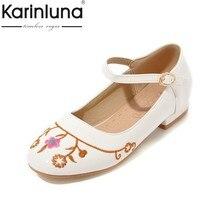 bb7223742 KarinLuna Nova Novo Design Tamanho 28-40 Confortável Mulher Sapatos Mulher  Doce Sapatos Mary Janes Flats Bordados Verão