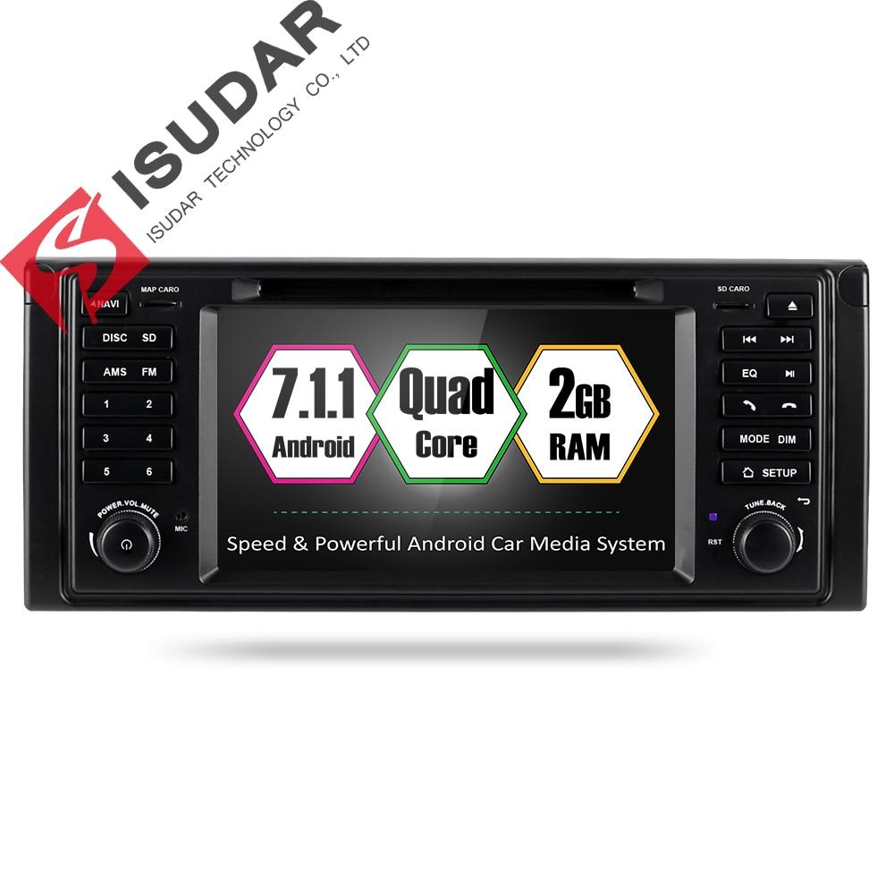 Isudar coche reproductor Multimedia GPS Android 7,1 2 Din coche DVD Playe Autoradio para BMW/E39/X5/ e53 Canbus Radio fm DSP dvd automotivo