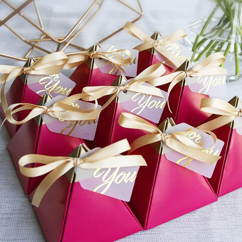 100 pièces nouveau personnalisé triangulaire vin rouge cadeau boîte papier bonbons boîte emballage cadeau sac pour mariage faveur décoration fête fournitures