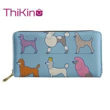 Thikin Poodle Long Wallet for Lady 3D Cute Dog Animals Paint Women Purse Girls Shopping Notecase Teen Girl Burse Handbag