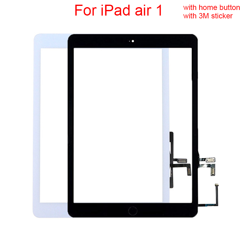 Tested well Replacement For iPad Air Generation for ipad 5 Touch Screen Digitizer Glass Lens with 3M sticker/home button replacement new touch screen digitizer glass without home button for ipad 3 ipad 4 black white free shipping