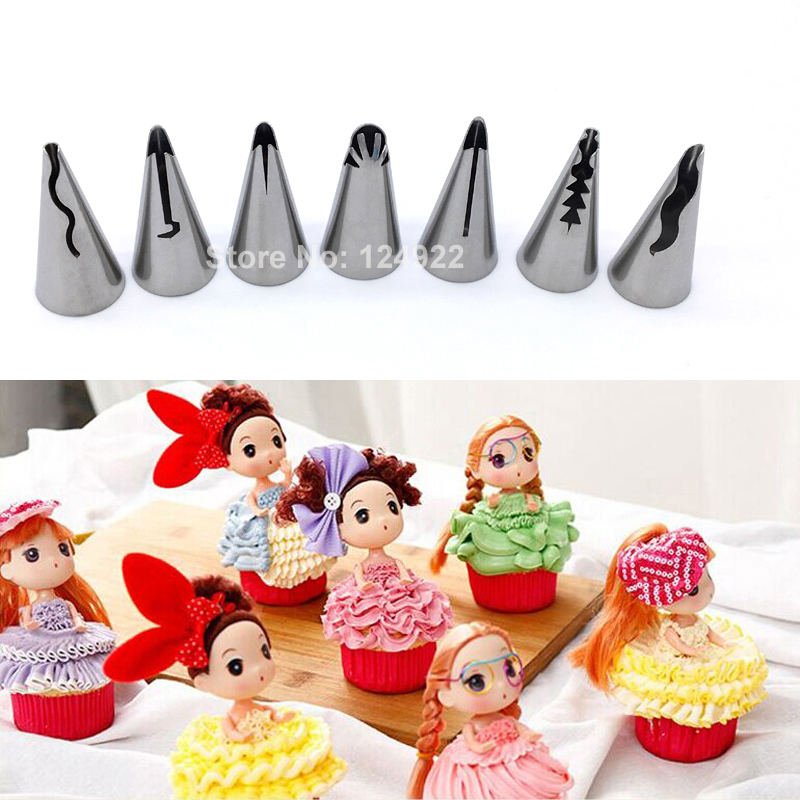 Cake Decorating Icing Set : 7 Pcs/set Stainless Steel Russian Tulip Icing Piping ...