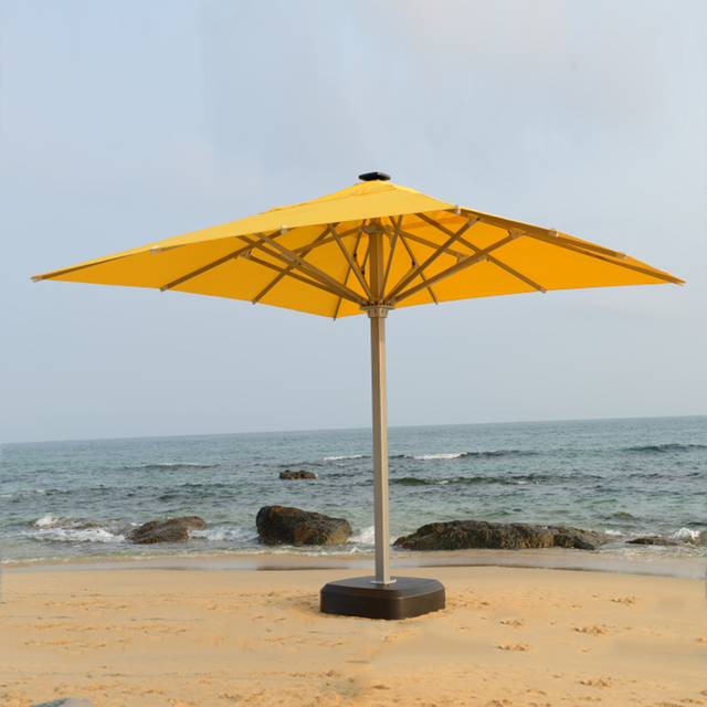 5x5 Meter Square Solar Deluxe Aluminum Super Big Outdoor Patio Sun Umbrella  King Parasol Sunshade Furniture