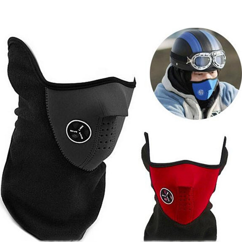 Warm Fleece Bike Half Face Mask Cover Face Hood Protection Ski Cycling Sports Outdoor Winter Neck Guard Scarf Warm Mask novelty women men winter warm black full face cover three holes mask beanie hat cap fashion accessory unisex free shipping