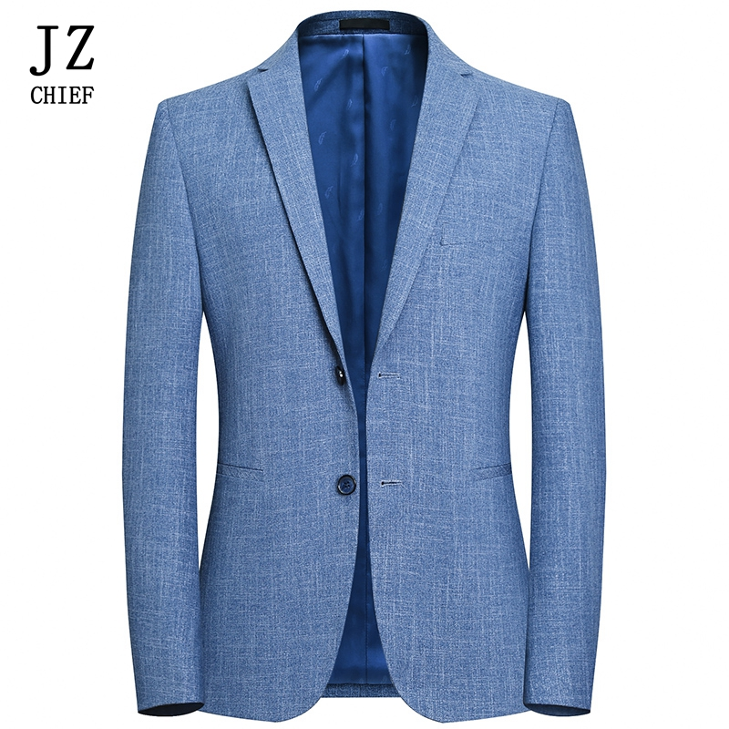 JZ CHIEF Mens Blazer Jacket Slim Fit Suit Jacket Business Casual Spring Suit Blazer Solid Luxury Men Clothing English Style