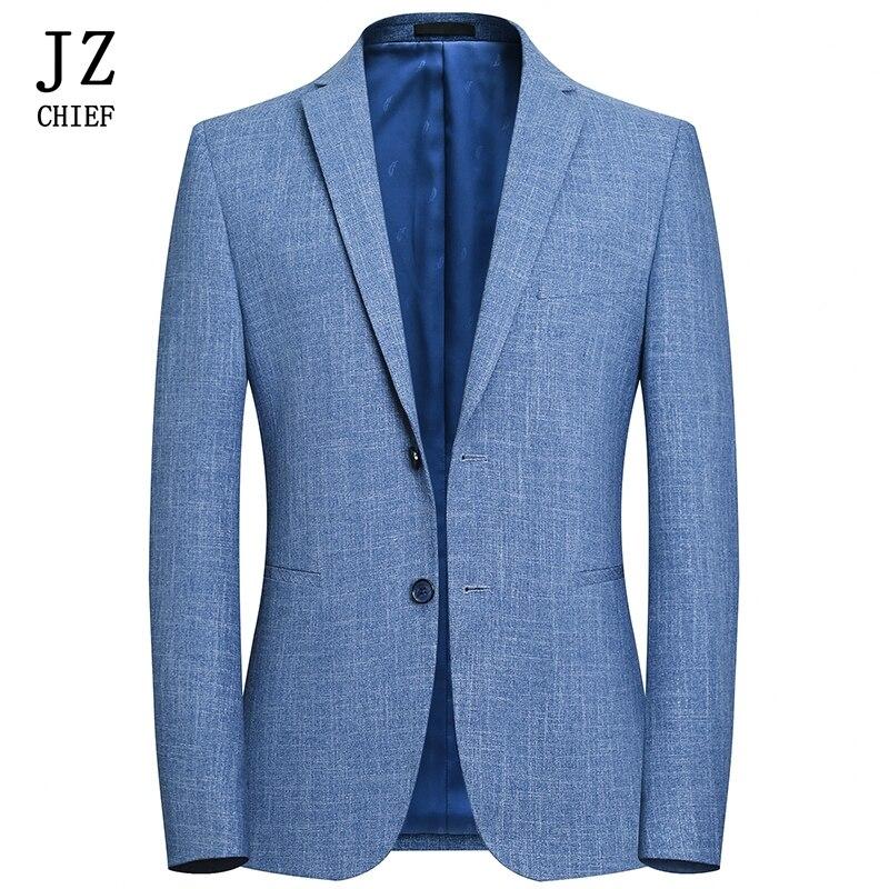 JZ chef hommes Blazer veste Slim Fit costume veste affaires décontracté printemps costume Blazer solide luxe hommes vêtements Style anglais
