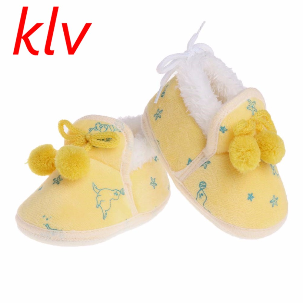 Cartoon Print Warm Velvet Crib Shoe Infant Boy Girl Winter First Walkers Shoes Cack Shoes 0-18 Month