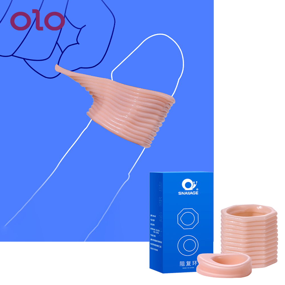 OLO 1 Pair Foreskin Correction Penis Sleeve Two Sizes Delay Ejaculation Screw Shape Penis Ring Cock Ring Sex Toys For Men