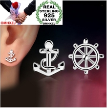 OMHXZJ WHOLESALE Fashion OL contracted girlfriend jewelry Sexy woman ANCHOR SHIP PLATE 925 sterling silver Stud Earrings YS86