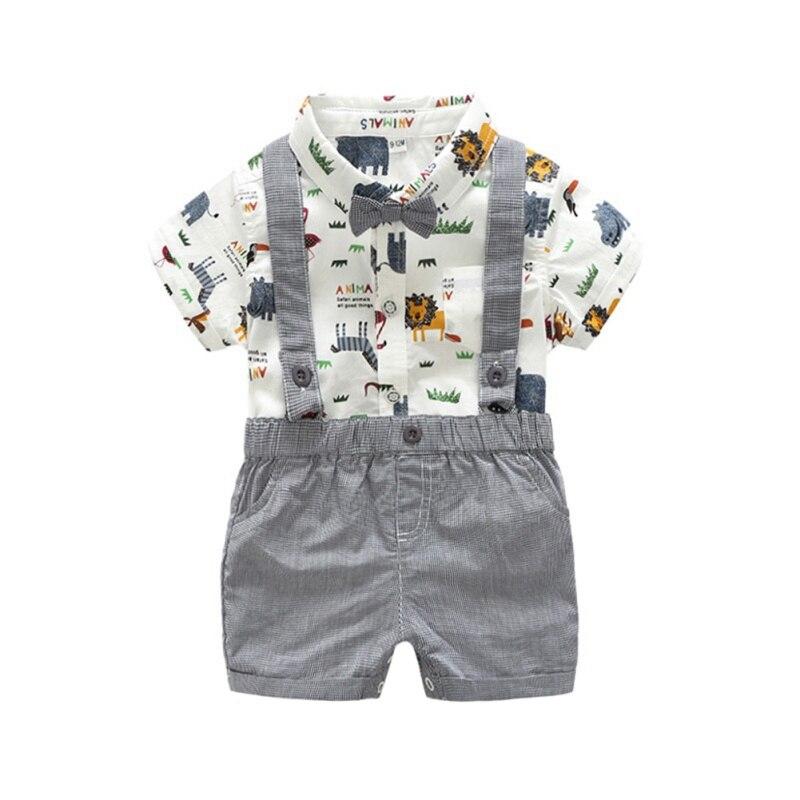 NewLapel S/M/L/XL Print 1-4T Button Summer Casual Baby Boy Set Gentleman Short Sleeve Suspender Pants Kit Kids Toddler Overalls