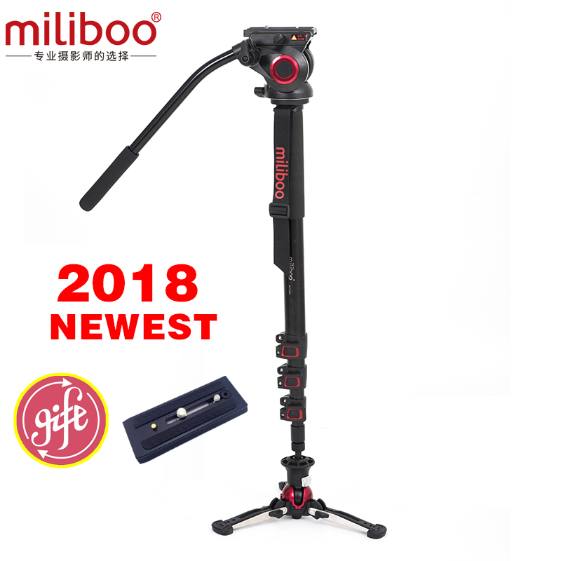 Miliboo MTT705AS Camera Monopod  Aluminum Portable Fluid Head for Camcorder /DSLR Stand Professional Video Tripod 73Max Height benro s2 professional compact video fluid head hydraulic damping panoramic tripod head for dslr video camera monopod head slider