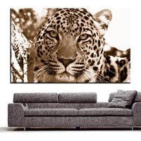 Large Size Printing Oil Painting Leopard Sepia Wall Painting Decor Wall Art Picture For Living Room