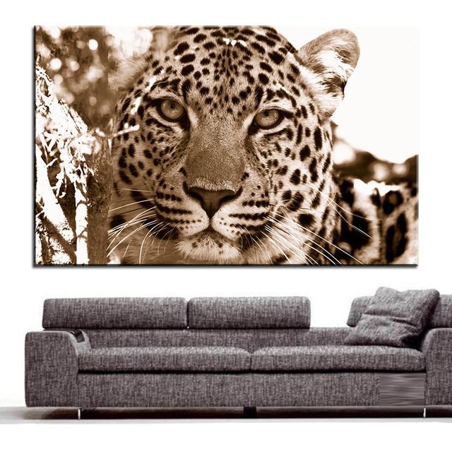 Large size Printing Oil Painting leopard sepia Wall painting Decor ...