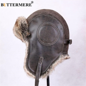 Image 3 - BUTTERMERE Winter Hats For Men Women Brown Ear Flaps Leather Russian Winter Hat Ushanka Bomber Trapper Hat Male Fur Snow Caps
