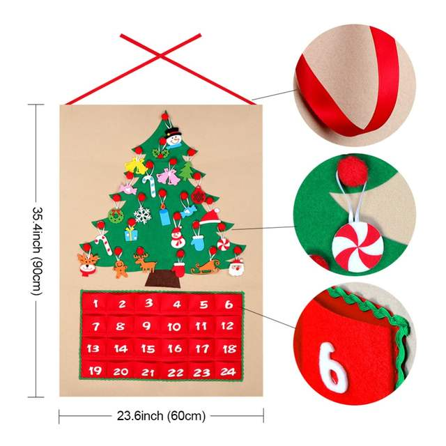 Until Christmas 70 Days Till Christmas.Us 10 21 35 Off Ourwarm Date 1 24 1 31 Advent Calendar Felt Countdown To Christmas Wall Door Hanging Ornaments Christmas Decoration For Home In